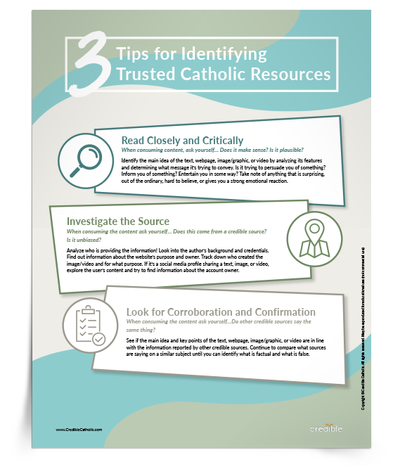3 Tips for Identifying Trusted Catholic Resources Tip Sheet